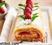 Bademli Çilekli Rulo Pasta