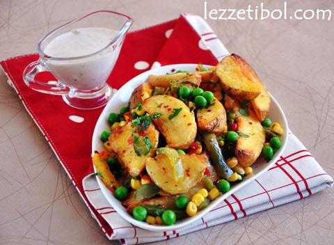 Yoğurt Soslu Patatesli Sebzeli Salata